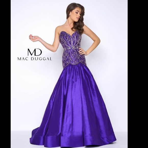 a0cfde1520 Purple MacDuggal Prom Pageant Military Ball Gown